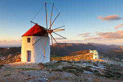Amorgos island. Windmills over  Chora of Amorgos island early in the morning Royalty Free Stock Photography