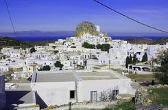Amorgos stad Arkivfoto