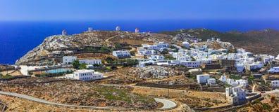 Amorgos wyspy panoramiczny widok Chora wioska Grecja, Cyclade obraz stock