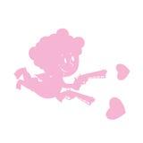 Amorka i miłości pistolety Sylwetka mały anioł z uśmiechem weap Obrazy Royalty Free