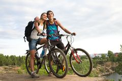 Amorous bikers Stock Images
