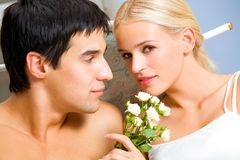 Amorous couple at bedroom Royalty Free Stock Image