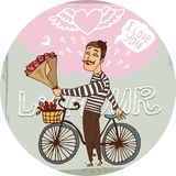 Amorous Frenchman on a bicycle with red roses. Starry eyed amorous Frenchman on a bicycle with a bouquet red roses serenading his sweetheart as he declares his Stock Photos