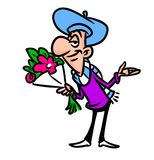 Amorous man bouquet  flowers  cartoon Royalty Free Stock Photo