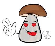Amorous mushroom cartoon Royalty Free Stock Images