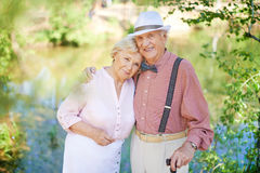 Amorous seniors Stock Photo