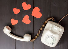 amorous talking by phone Royalty Free Stock Photo