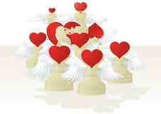 Amorous white chessmen Royalty Free Stock Photography
