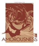 Amorousness Иллюстрация руки вектора вычерченная милой изолированной девушки с жидкостной текстурой иллюстрация вектора