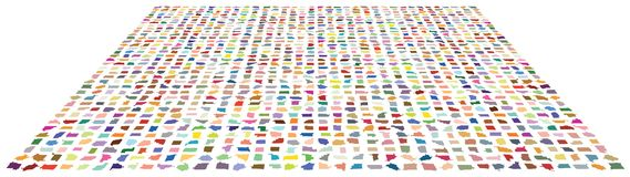 Amorphous tiny forms mapped onto 3D surface, distorted into 3D space. Tiny amorphous bits organized in grid pattern, digitally colored and distorted onto 3D Royalty Free Stock Photography