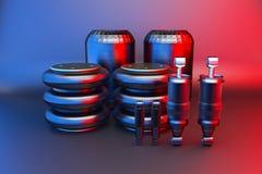 Amortecedor da cabine dos caminhões e mola de ar, peças de automóvel novas, peças sobresselentes Cabinedemper rendição 3d ilustração do vetor