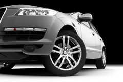 Amortecedor dianteiro, luz e roda do carro Foto de Stock