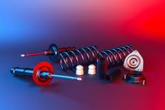 Amortecedor do automóvel de passageiros com tampão de poeira, montagem do amortecedor e montagem do suporte rendição 3d ilustração stock