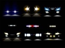 Amortecedor leve do veículo do pisca-pisca dos faróis e do carro de polícia ilustração stock