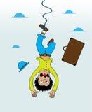 Amortiguador auxiliar que salta del cielo con un pie Fotografía de archivo libre de regalías