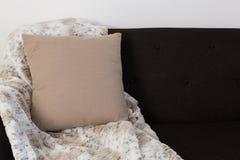 Amortiguador y manta dispuestos en el sofá imagen de archivo libre de regalías
