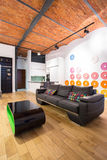 Amortiguadores oscuros del sofá y del color Fotos de archivo libres de regalías