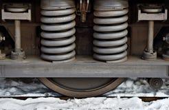 Amortissement de ressort sur le châssis de train Image libre de droits