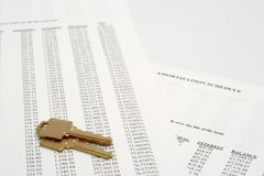 Amortization with Keys. Amortization schedule with a pair of house keys Stock Photography