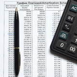 Amortization schedule of payments on the credit Stock Photography