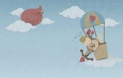 Amortriebbogen im Heißluftballon auf dem Himmel gemacht von aufbereitetem Brei Stockfotos