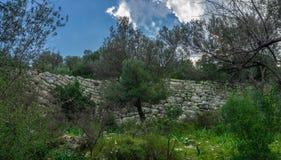 Amos Ancient City stadsväggar från Marmaris, Kumlubuk, Turkiet arkivbild