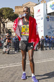 Amos Kipruto immediately after winning the Rome Marathon 2016 ve Stock Images