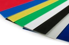 Amostra de folha plástica da cor Fotografia de Stock