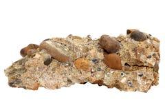 Amostra natural de rocha do conglomerado do cascalho e dos seixos cimentados no fundo branco Imagem de Stock
