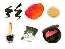 Amostras cosméticas decorativas do produto Fotografia de Stock