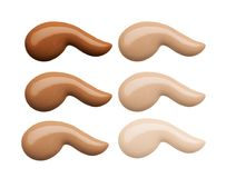 Amostras da composição da cara da fundação Grupo de fundação ou de creme líquido cosmético em cursos diferentes da mancha do borr ilustração stock