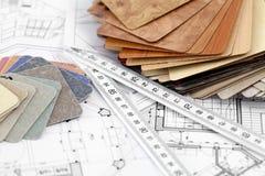 Amostras da cor de materiais arquitectónicos Fotografia de Stock