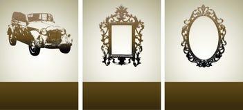 Amostras do projeto com carro retro e frames Imagens de Stock Royalty Free