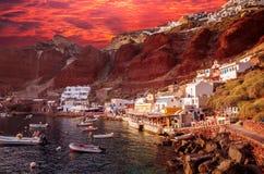 Amoudi, île de Santorini, Grèce Photo stock