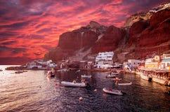 Amoudi, île de Santorini, Grèce Image stock