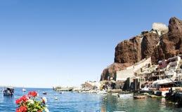 Amoudi bay oia santorini greek island. Amoudi bay the fishing harbor port built into the caldera on the greek cyclades island of santorini town of oia ia on the stock image