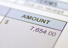 Bill Amount owed. Bill shows amount of payment due on invoice Royalty Free Stock Photos