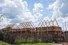 Amount Ergunaen and the town being built Kibusa Stock Images