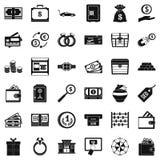 Amount of money icons set, simple style. Amount of money icons set. Simple set of 36 amount of money vector icons for web isolated on white background Royalty Free Stock Photos
