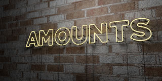 AMOUNTS - Glowing Neon Sign on stonework wall - 3D rendered royalty free stock illustration Royalty Free Stock Images