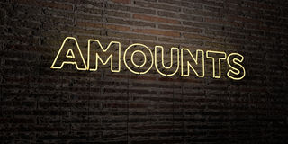 AMOUNTS -Realistic Neon Sign on Brick Wall background - 3D rendered royalty free stock image Stock Photography