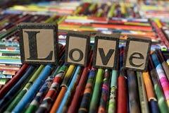 Amour écrit avec des blocs Image libre de droits