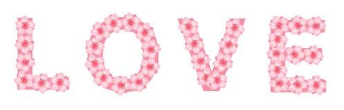 Amour écrit avec des fleurs Photographie stock libre de droits