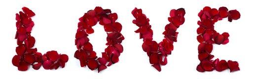 Amour écrit avec des pétales de rose Images stock