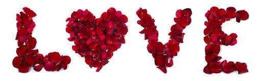 Amour écrit avec des pétales de rose Photo libre de droits