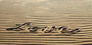 Amour écrit dans le sable, grand parc de Natioanl de dunes de sable et pré Photos stock