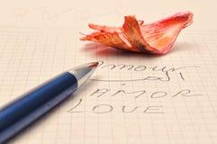 Amour, écrit en plusieurs langues Images libres de droits