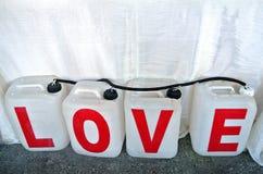 Amour écrit sur des réservoirs Image libre de droits