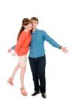 Amour actif drôle un type avec une fille Image libre de droits