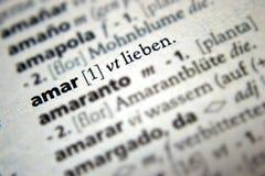 Amour Amar Lieben Spanish German Dictionary Photographie stock